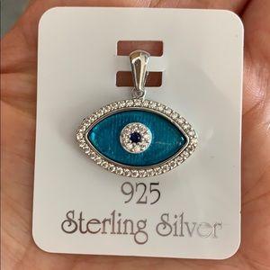 Jewelry - New Sterling Silver 925 Blue CZ Evil Eye Pendant